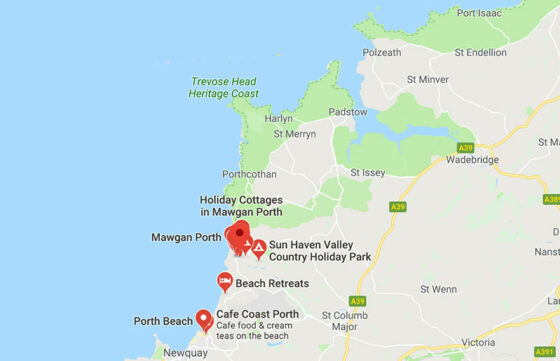 Waves Surf School, Cornwall - Surf Lesson Location Map - Mawgan Porth