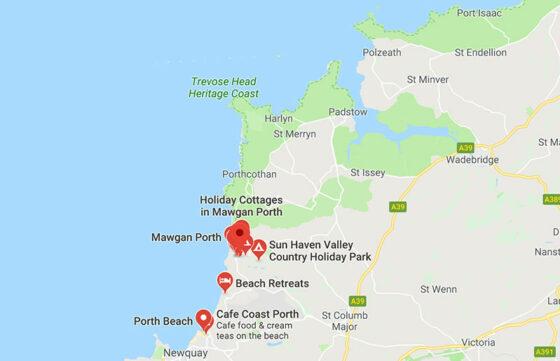 Waves Surf School, Cornwall - Surf Lesson Location Map - Mawgan Porth