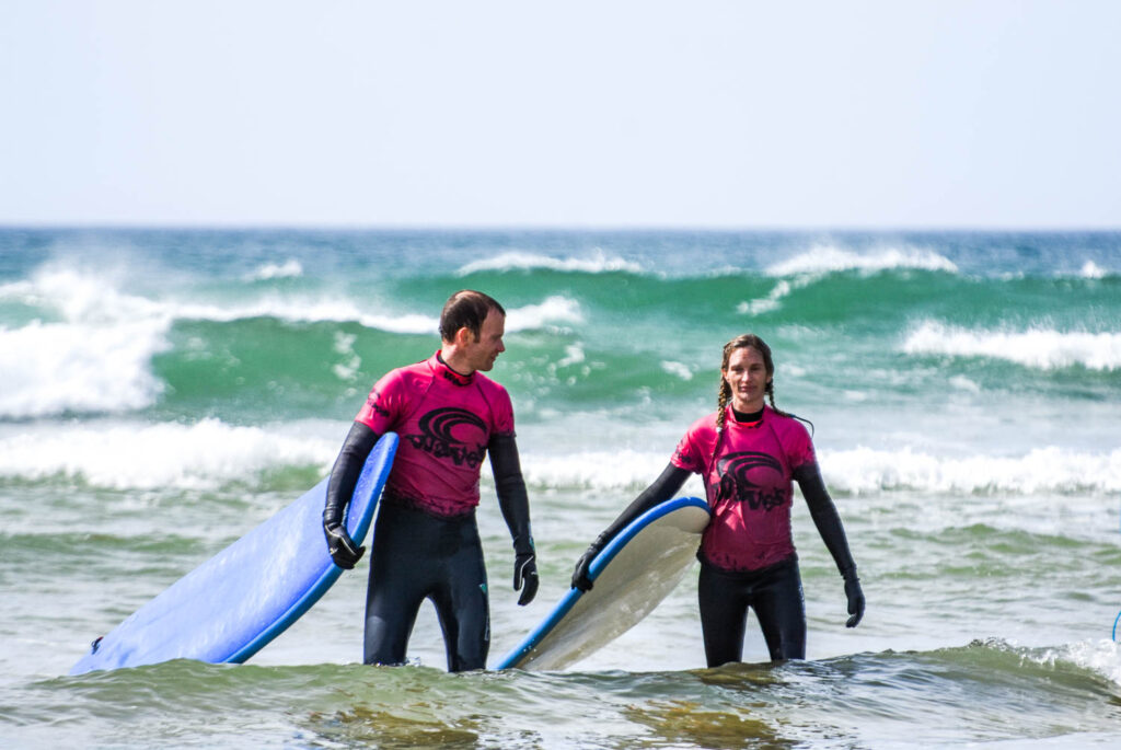 Waves Surf School Cornwall - Couples Surfing Lesson